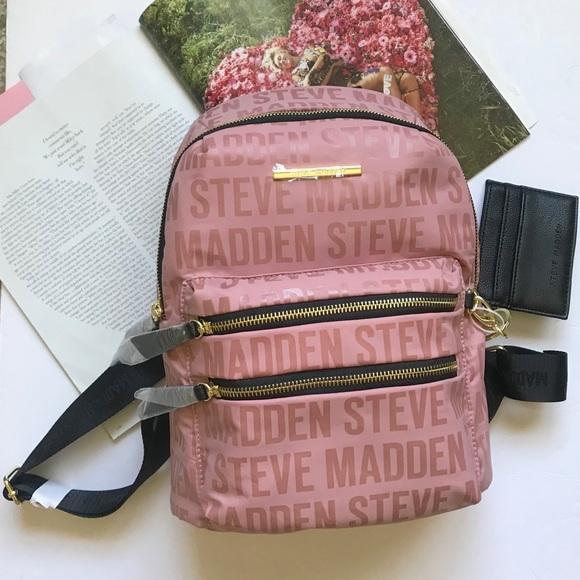 612e1500270 Steve Madden Bags | New Pink Logo Backpack Bag Purse | Poshmark